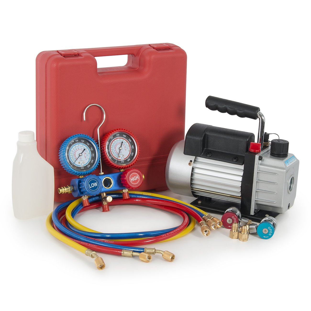 Arksen 1/3HP 3 CFM Rotary Vane Vacuum Pump with  R134A Ma...
