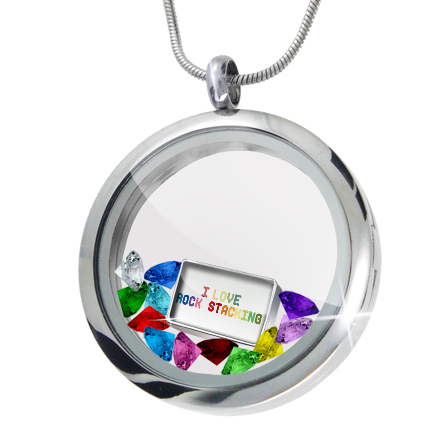 Floating Locket Set I Love Rock stacking,Colorful - NEONBLOND