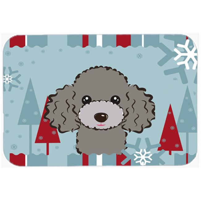 Winter Holiday Silver Gray Poodle Mouse Pad, Hot Pad & Trivet