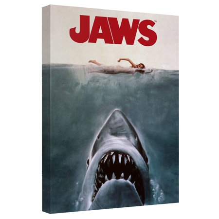 Jaws Jaws Poster Canvas Wall Art With Back Board White