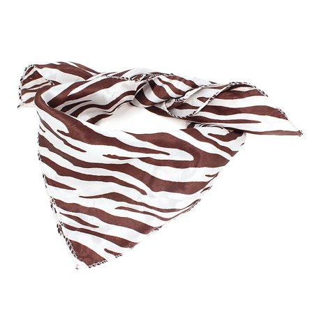 Ladies White Brown Zebra Pattern 46cm x 49cm Neck Scarf Kerchief