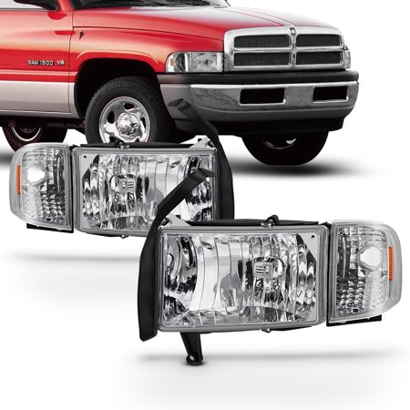 Fit 1994-01 Dodge Ram 1500 2500 3500 Pickup Clear Headlights Corner Signal Lamps