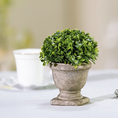 Artificial Topiary Fake Green Leaves Arrangements with Trophy Design Paper Pulp Pot for Home Decor ()