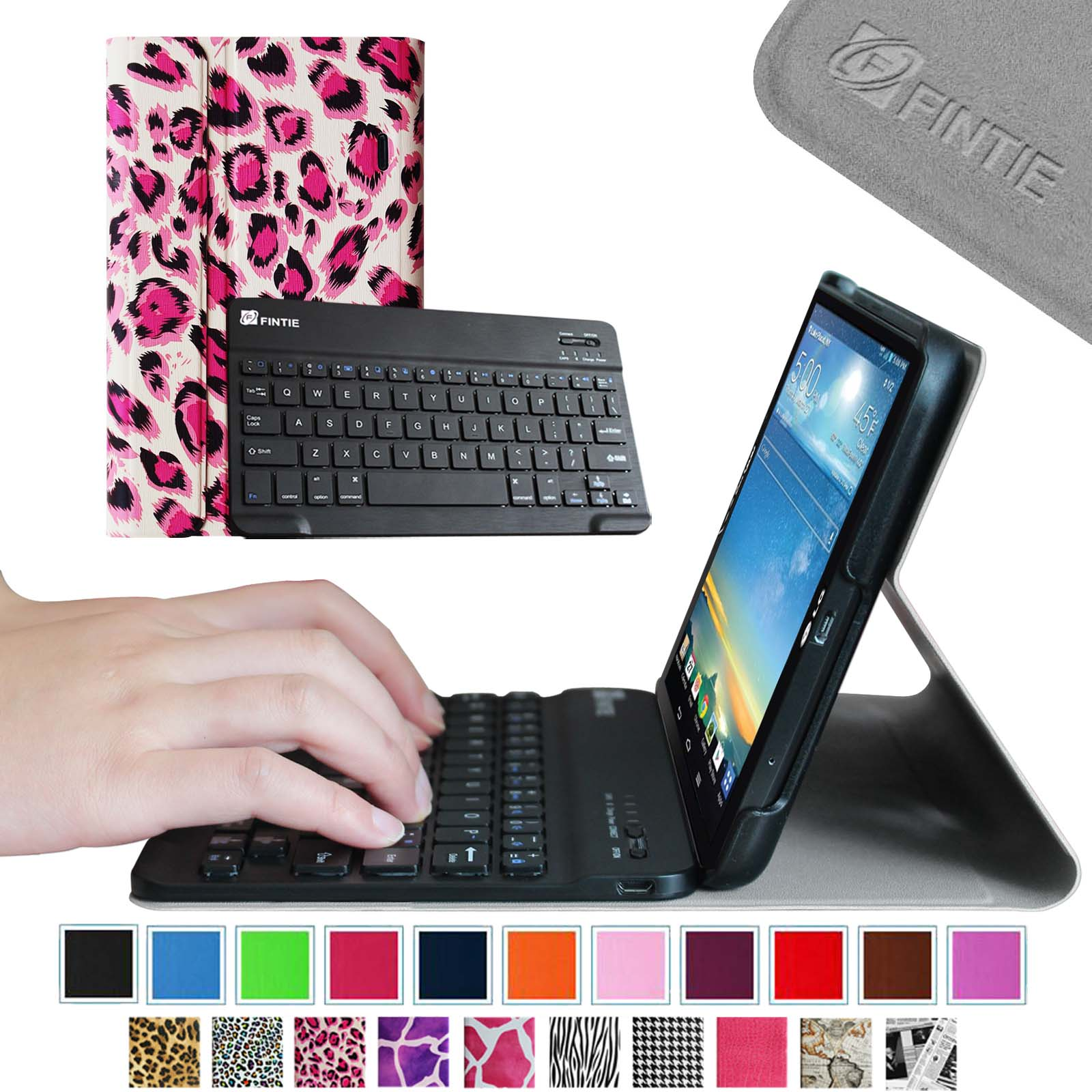 Fintie Wireless Bluetooth Keyboard Case for LG G PAD 8 3 Model V500/V510  (Wifi)&VK810 (Verizon 4G LTE), Leopard Magenta
