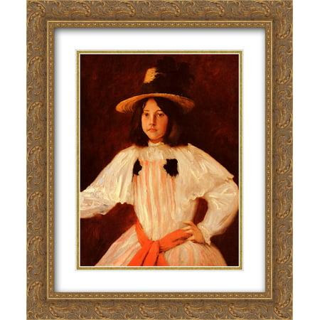 William Merritt Chase 2x Matted 20x24 Gold Ornate Framed Art Print 'The Red Sash'