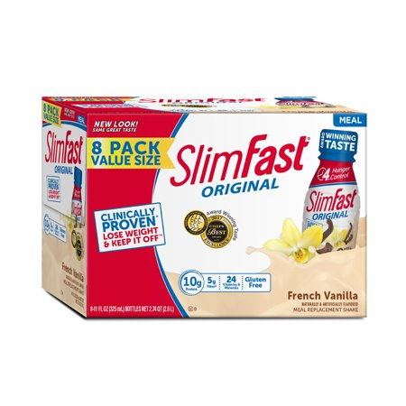 SlimFast Original Ready to Drink Meal Replacement Shakes, French Vanilla, 11 fl. oz., Pack of (Original Shake Vanilla Cream)