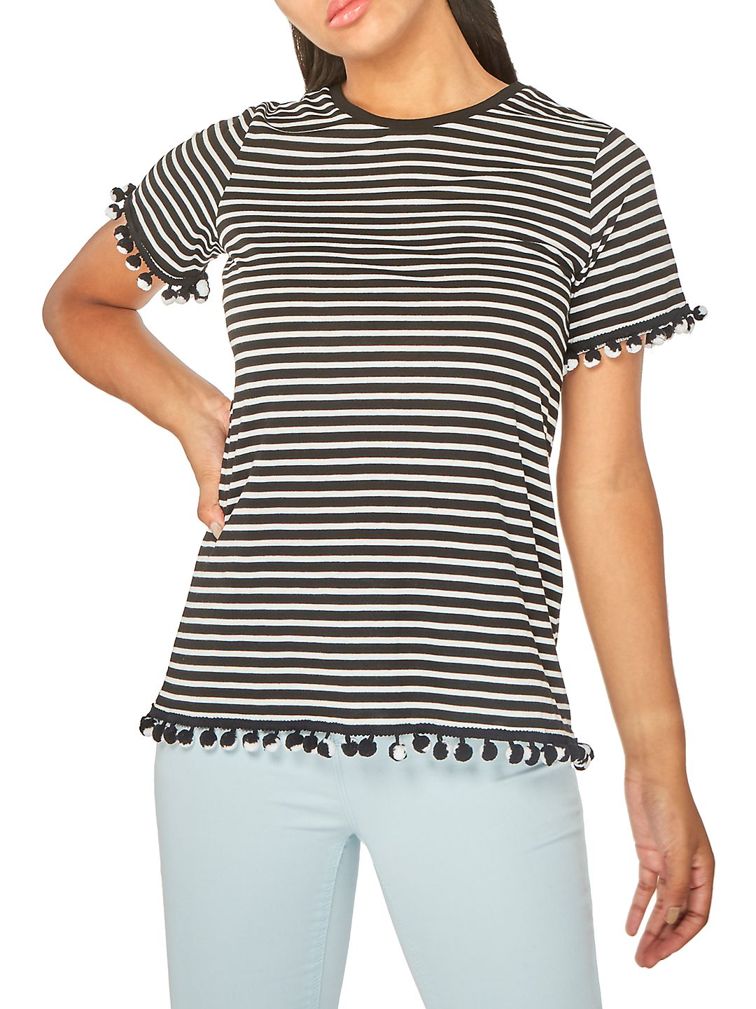 Striped Pom-Pom T-Shirt