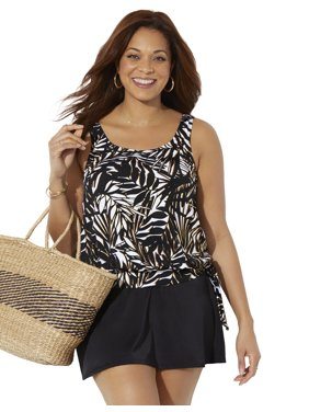 Swimsuits For All Women's Plus Size Side Tie Blouson Tankini Set with Skirt