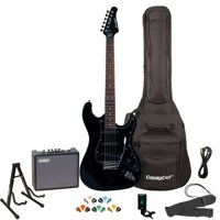 Sawtooth Black ES Series Electric Guitar with Black Pickguard - Includes: Gig Bag, Amp, Picks, Tuner, Strap, Stand, Cable, and Guitar Instructional