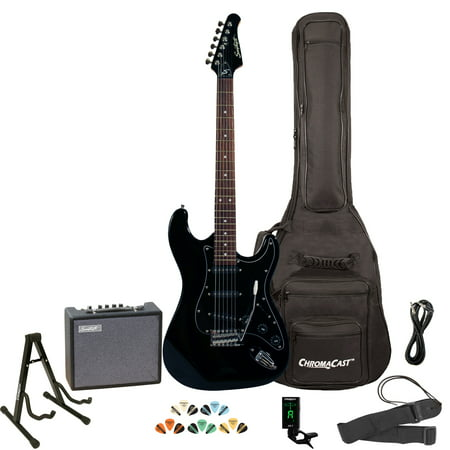 Sawtooth ES Series ST Style Electric Guitar Kit with Sawtooth 10 Watt Amp, Gig Bag Soft Case, Stand, Clip-on Tuner, Picks, Strap & Cable - Black with Black Pickguard Telecaster Black Electric Guitar