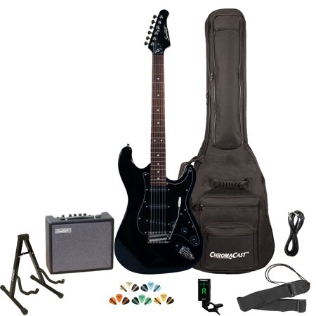 Top Solid Body Electric Guitar - Sawtooth ES Series ST Style Electric Guitar Kit with Sawtooth 10 Watt Amp and ChromaCast Accessories, Black with Black Pickguard