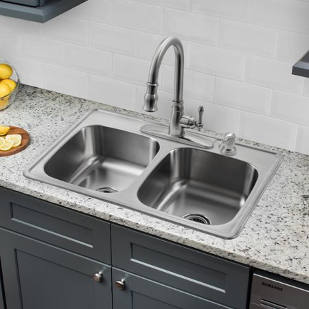 soleil 33 x 22 double bowl drop in stainless steel kitchen - Drop In Stainless Steel Kitchen Sinks
