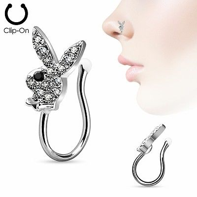 Nose Clip Clip On Non Piercing Nose Ring CZ Paved Playboy Bunny