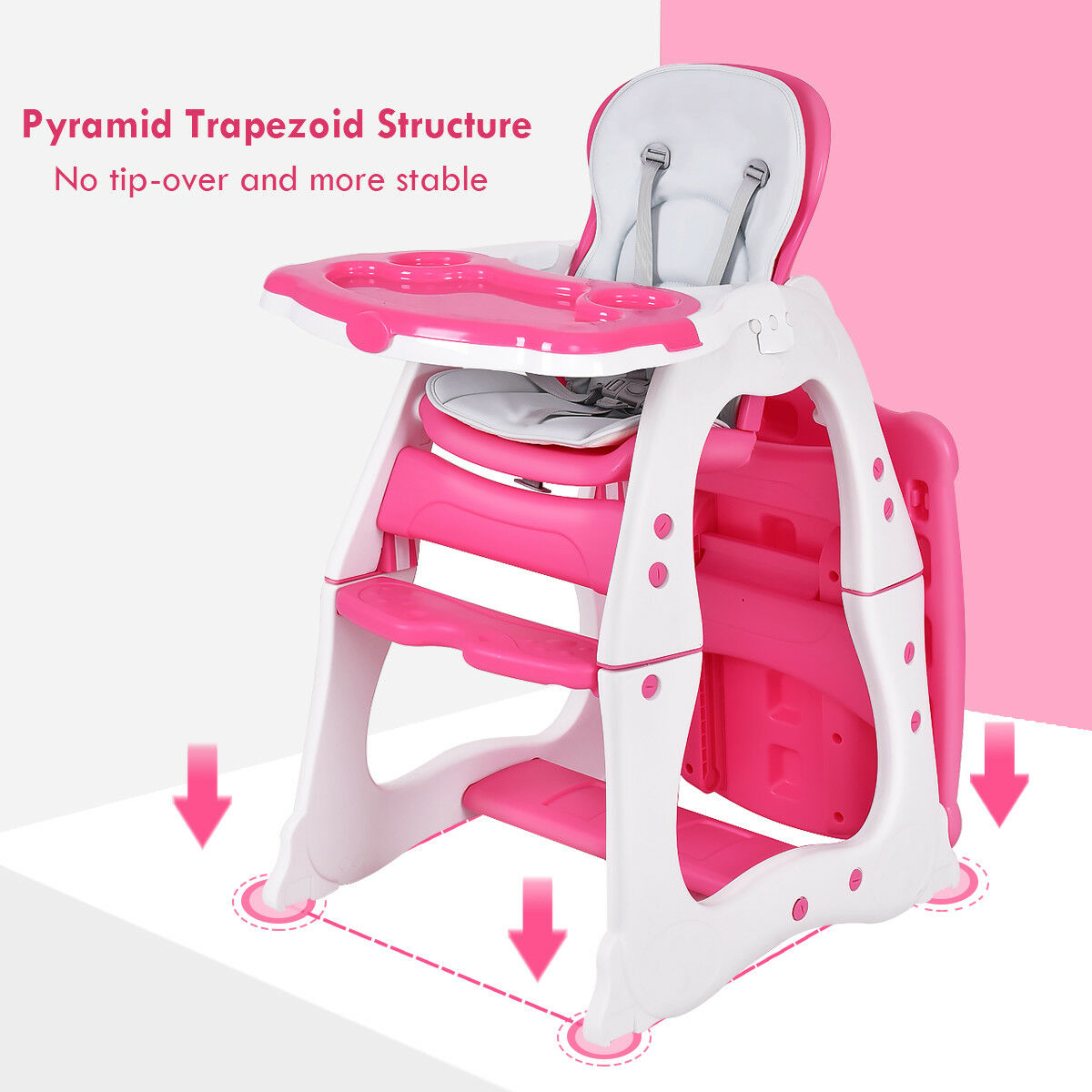 3 in 1 Baby High Chair Convertible Play Table Seat Booster Toddler Feeding Tray - image 2 de 10