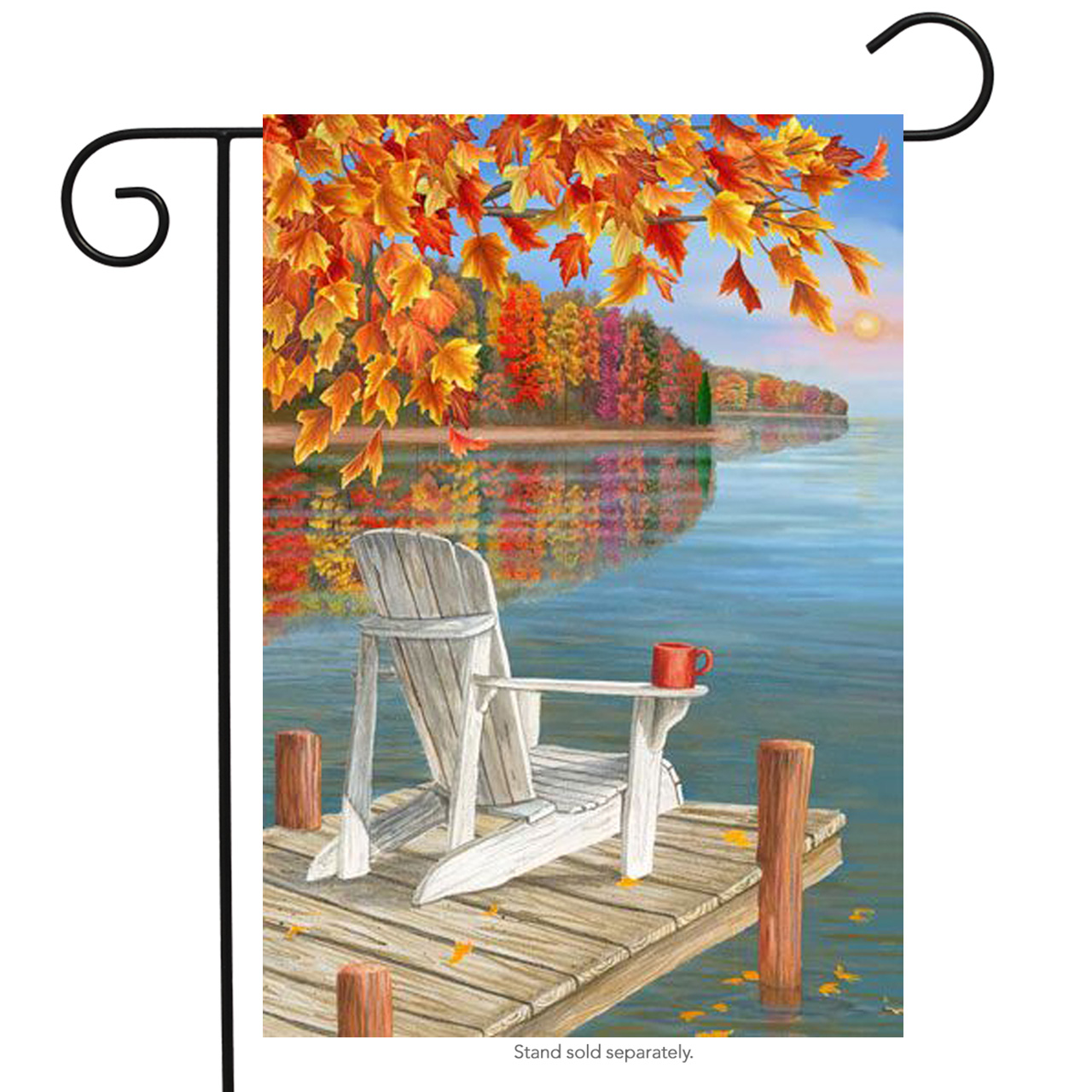 "Fall Reflection Lake Garden Flag Adirondack Outdoors Autumn Sunset 12""x18"""