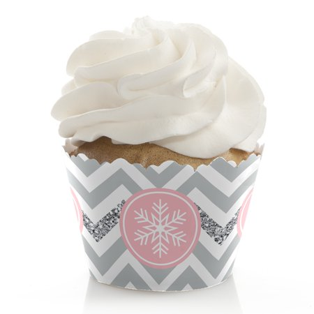 Pink Winter Wonderland - Holiday Snowflake Birthday Party or Baby Shower Decorations - Party Cupcake Wrappers - 12 Ct (Winter Onederland Birthday Decorations)