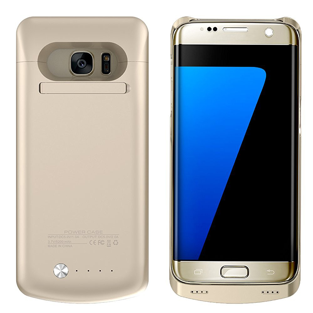 Samsung Galaxy S7 Edge External Battery Backup Case Charger Power Bank 5200mAh Stand Gold