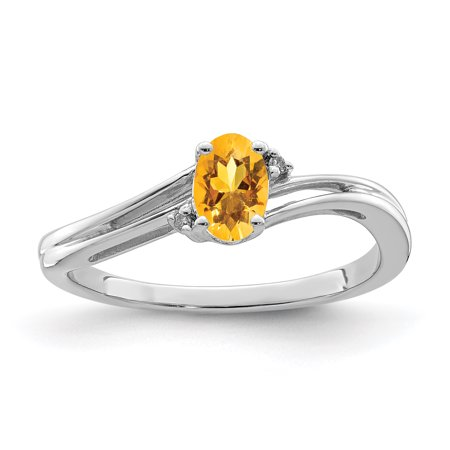 925 Sterling Silver Diamond Yellow Citrine Oval Band Ring Size 7.00 Gemstone Fine Jewelry For Women Gift Set