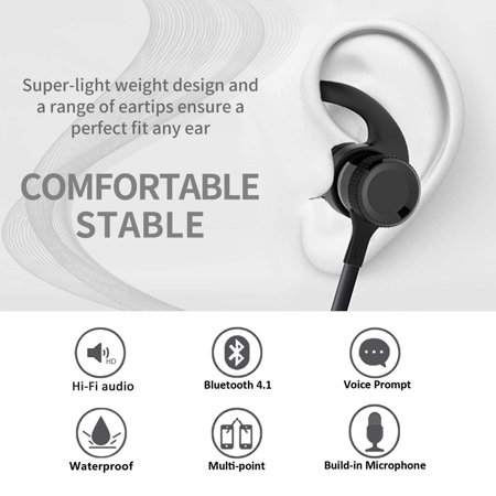 MiiU (TM) Wireless Bluetooth 4.0 Stereo Sweatproof Earphones with Mic, headphone, Earbuds, Headset, Blue - image 1 of 7