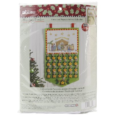 Bucilla Mary Engelbreit Counted Cross Stitch Felt Appliqu Home Decor By Plaid Christmas Pagent Advent Calendar 15 X 28 Walmart Com Walmart Com