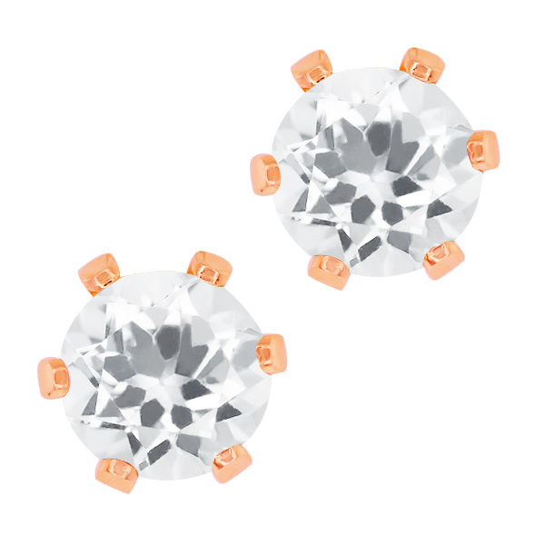 3.00 Ct Round White Cubic Zirconia Gold Plated 6-prong Stud Earrings 6mm