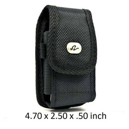 2 PACK - Universal Heavy Duty Rugged Nylon Canvas Protective Carrying Cell Phone Case Pouch (with Metal belt Clip) For Medium Sized Flip Phones - Black