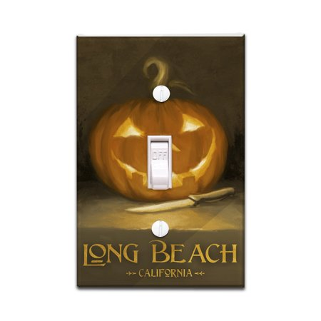 Long Beach, California - Jack-O-Lantern - Halloween - Oil Painting - Lantern Press Artwork (Light Switchplate Cover) - Nature Center Long Beach Halloween