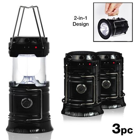 - Loadstone Studio |3-Pack| Outdoor Camping LED Lantern 2-in-1 Solar and Cable Charging and Built-in Power Ban, WMLS4751