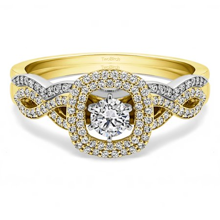 2 Ring Bridal SET:Engagement ring with Diamonds(G,SI1) and Moissanite Center in 14k Two Tone Gold(1.12tw)