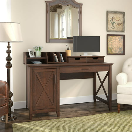 Bush Furniture Key West 54W Computer Desk with Storage and Desktop Organizers in Bing Cherry ()