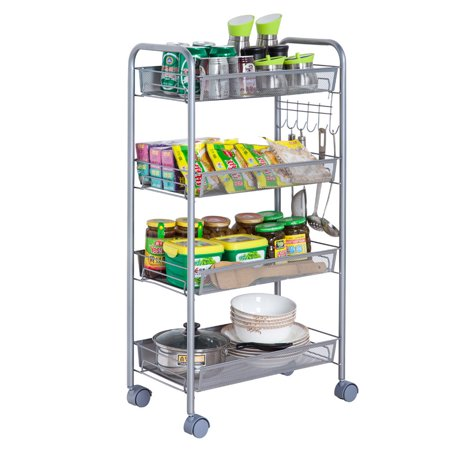 Zimtown 4-Tier Mesh Wire Rolling Cart Multifunction Utility Cart Kitchen Storage Cart on Wheels, Steel Wire Basket Shelving Trolley,Easy moving,Silver - Walmart.com