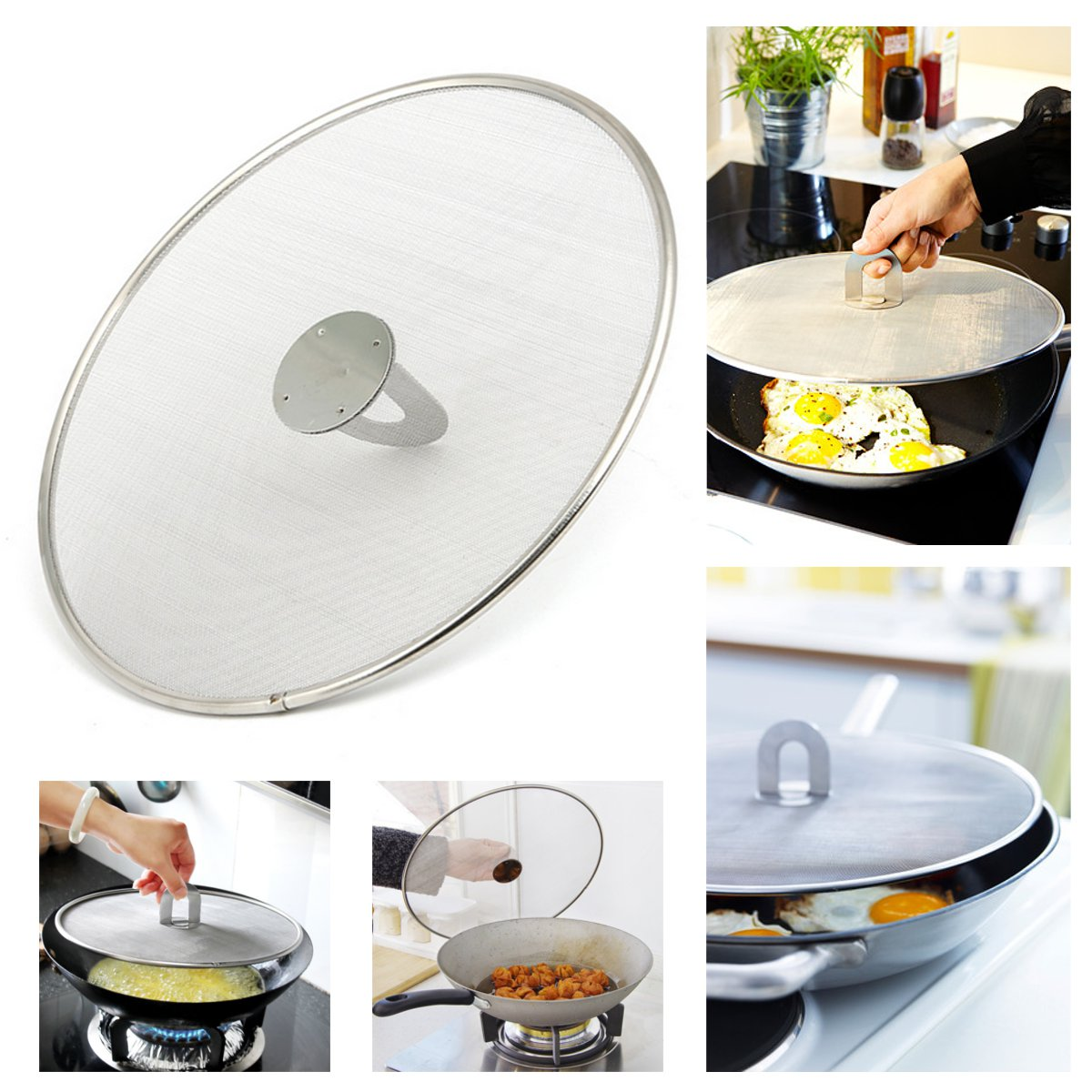 Practical Kitchen Frying Pan Splatter Screen Stainless Steel Oil Proofing Lid