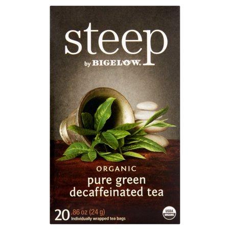 Steep par Bigelow organique 20 pur vert décaféiné thé, 0,86 oz, 6 pack