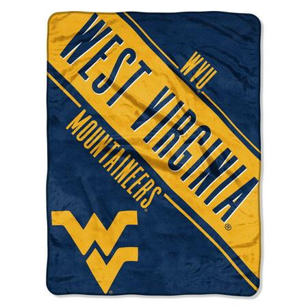"NCAA West Virginia Mountaineers ""Section"" Micro Raschel Throw, 46"" X 60"" (West Virginia Mountaineers Locker Room)"