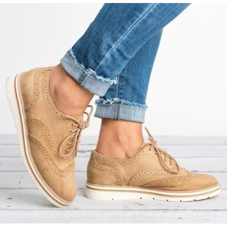 Women Casual Shoes Workout Flats Wing tip Oxfords Vintage Lace up Flats