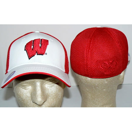 NCAA Officially Licensed Wisconsin Badgers Stretch Fit A-flex Design Embroidered Logo Baseball Hat