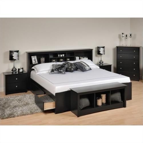 Prepac Sonoma 5 Piece King Bedroom Set with Storage Bench in Black