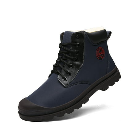 Men's Winter Snow Boots Blue Lightweight Martin Boots Comfortable Breathable Shoes