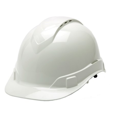 Pyramex Safety Products Ridgeline Cap Style Vented Hard Hat 4 Point Ratchet  White