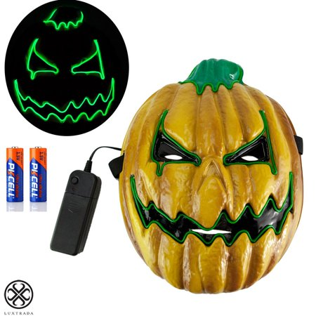 Scary Pumpkins For Halloween (Luxtrada Halloween Scary Pumpkin Mask Cosplay Decorations Led Costume Mask EL Wire Light up for Halloween Festival Party Yellow + 2pcs AA)