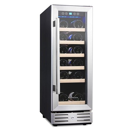 kalamera 12'' wine refrigerator 18 bottle built-in or freestanding with stainless steel & double-layer tempered glass door and temperature memory -
