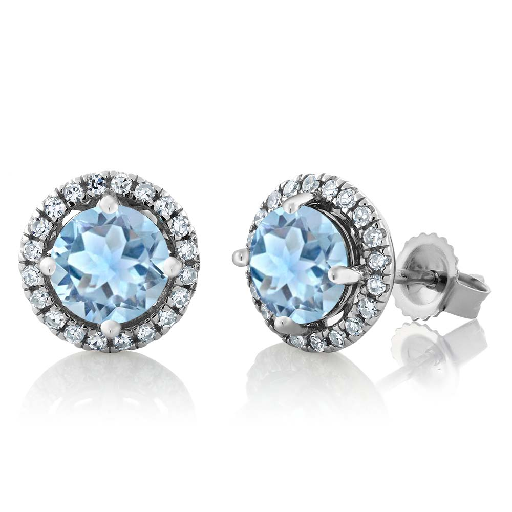 1.71 Ct Round Sky Blue Aquamarine H/I Diamond 14K White Gold Earrings
