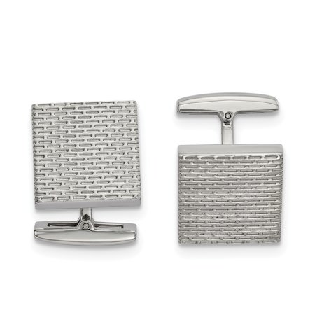 Mia Diamonds Stainless Steel Polished Textured Square Cufflinks