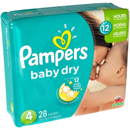Pampers Baby Dry Diapers, Size 4, 28 Diapers–Walmart-Cash Back