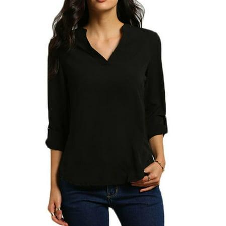 Plus Size Womens V-Neck Loose Chiffon Shirt Long Sleeve Tops Oversized Blouse
