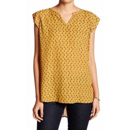 Pleione NEW Mustard Yellow Womens Size XS Printed Split-Neck Blouse