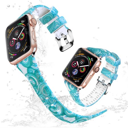 Moretek for Apple Watch 42mm/44mm Women Bands, Soft Silicone Slim Replacement Band Straps for iWatch Series 4/3/2/1 (Blue Circle)