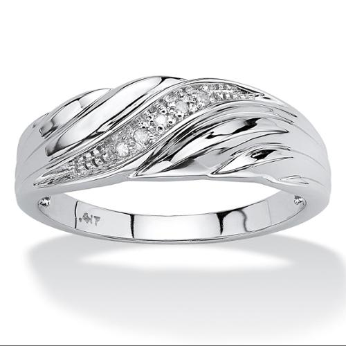 Men's Diamond Accent 10k White Gold Swirled Wedding Band Ring - Size 11