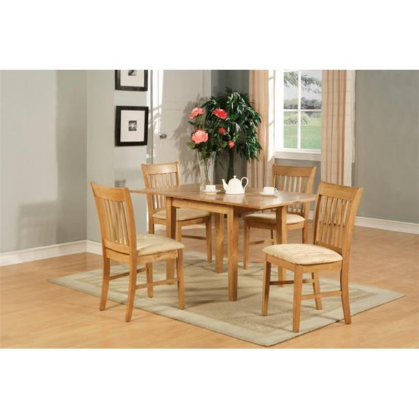 East West Furniture Nofk5 Oak C 5 Piece Dinette Set For Small Spaces Table And 4 Dining Table Chairs Walmart Com Walmart Com