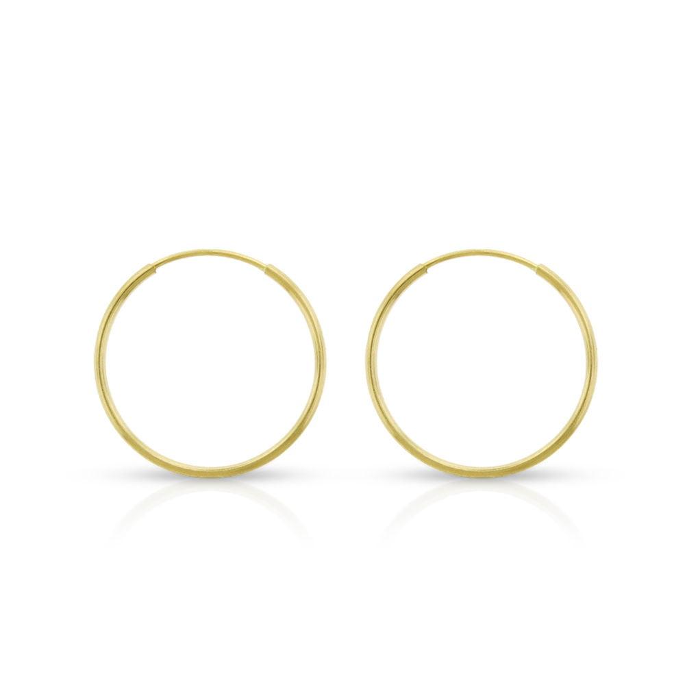 2.9IN Diameter 14k Yellow Gold Polished Endless Tube Hoop Earrings